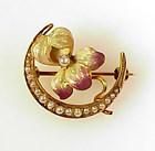 Art Nouveau 10K Gold Enamel Pearl Iris Honeymoon Brooch