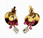 Retro Tiffany & Co. 14K Gold Ruby & Aquamarine Earrings