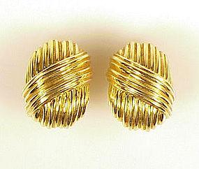 Tiffany & Co. 18K Yellow Gold Earclips