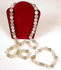 Rose Quartz & Aventurine Necklace & Bracelet