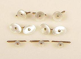 Larter 14K Gold & Mother Of Pearl 8-Piece Dress Set