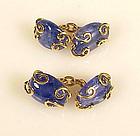 Seaman Schepps 18K Gold Blue Sapphire Pebble Cufflinks
