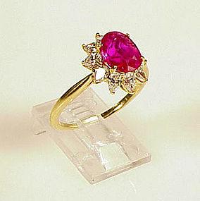 Tiffany & Co. 18K Yellow Gold Burmese Ruby Diamond Ring