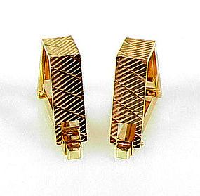 Art Deco French 18K Yellow Gold Stirrup Cufflinks