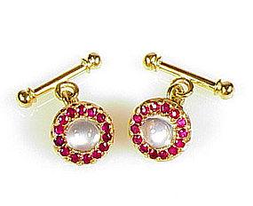 Austrian Art Deco 18K Gold Ruby & Moonstone Cufflinks