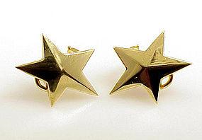 Vintage Tiffany & Co. 18K Gold Star Earrings