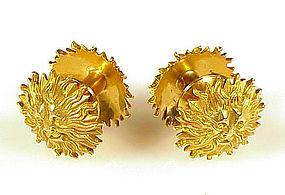 Art Deco French 18K Gold Lion�s Head Sunburst Cufflinks