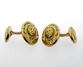 Krementz 14K Gold Art Nouveau Double Maiden Cufflinks