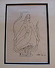 Original drawing by Wilhelm K�GE of mermaid for Argenta