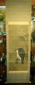 Antique Japanese painting scroll  Hawk on the tree