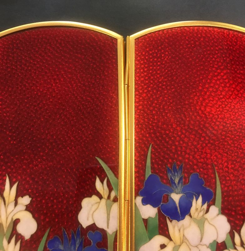 Lovely flower Japanese cloisonné enamel screen