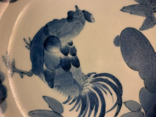 Japanese Imari blue and white plate with chicken