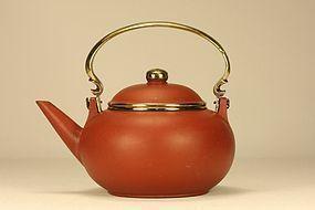 Chinese Yixing Teapot GONJU w Brass Mounted & Signed