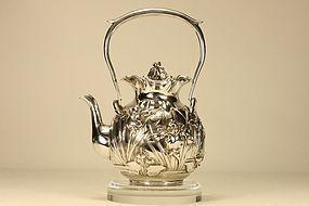 Japanese Silver Teapot w Irises Marked & Signed