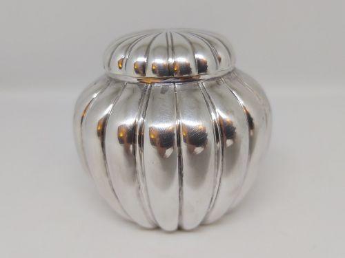 Japanese Silver Tea Caddy w Pumpkin Design