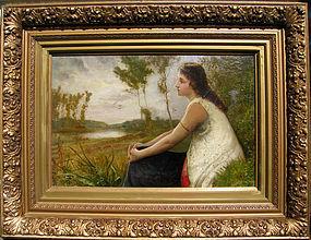 Victorian Lady in Lush Landscape, Robert P Staples