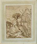 Peasant Girl Outside Cottage: Abraham Bloemaert