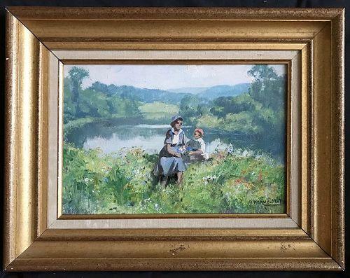Impressionist Mother & Child in Landscape, oil, listed Jules Herve