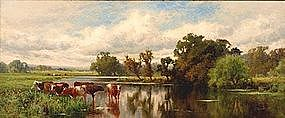 Cows by a River: Henry H. Parker