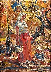 Figure with Autumn Background by John Costigan