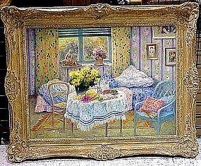 Interior with Flowered Wallpaper: Joseph Pauwels