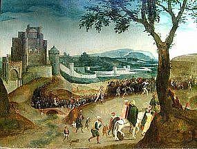 Religious Procession with Castle: Henri Met De Bles