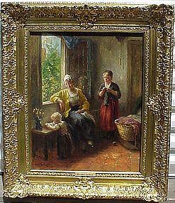 Woman & Children in Interior: Bernard De Hoog