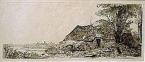 Cottage & Tree in Landscape: Rembrandt Van Rijn