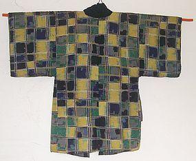Antique Japanese Taisho Period Kasuri Hanten Coat