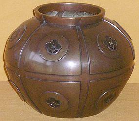 Antique Japanese Art Deco Bronze Flower Vase C.1937