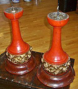 Antique Japanese Zen Buddhist Temple Altar Candlestands