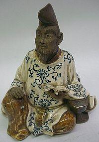 Antique Japanese Signed Mokubei Ceramic Scholar