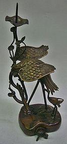Antique Japanese Bronze Meiji Period Candlestand