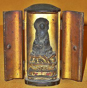 Antique Japanese Fudo-Myo Traveling Altar, Edo P.