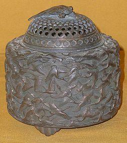 Antique Japanese Bronze Incense Burner , C1950, Signed