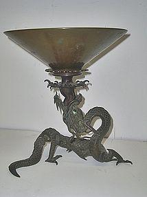 Antique Japanese Bronze Dragon Ususbata Flower Vase