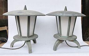Antique Japanese Showa Period C.1950 Bronze Garden Lanterns