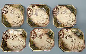 Antique Japanese Meiji Period C.1880 Set of 6 Oribe Dishes