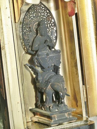 Antique Japanese Zushi Traveling Altar, Buddha on Elephant