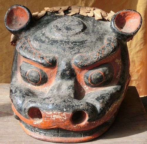 Antique Japanese Shishimai Shrine Mask; Ceramic C.1880