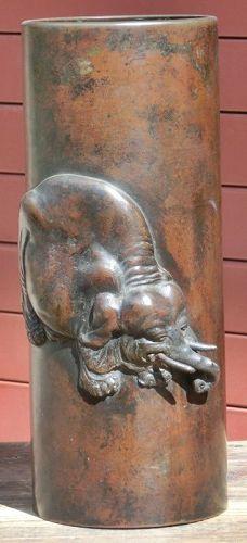 Antique Japanese Bronze Elephant Flower Vase