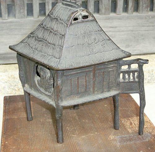 Antique Japanese Bronze Taisho Period Tea House Koro
