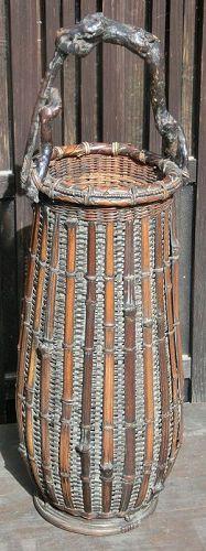 Japanese Antique Bamboo Flower Basket