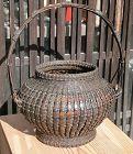 Antique Japanese Bamboo Flower Basket w/Original Box