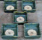Antique Japanese Set of 5  Oribe Ceramic Dishes C.1920