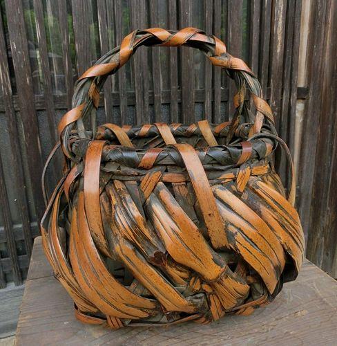 Antique Japanese Signed Sakaguchi Sounsai Bamboo Flower Basket