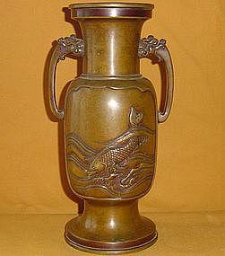 Antique Japanese Meiji Period Bronze Flower Vase c.1890