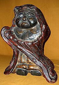 Japanese Antique Museum Quality Daruma Carving C.1700