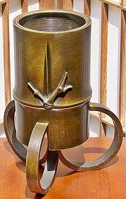 Antique Japanese Bronze Tea Ceremony Flower Vase