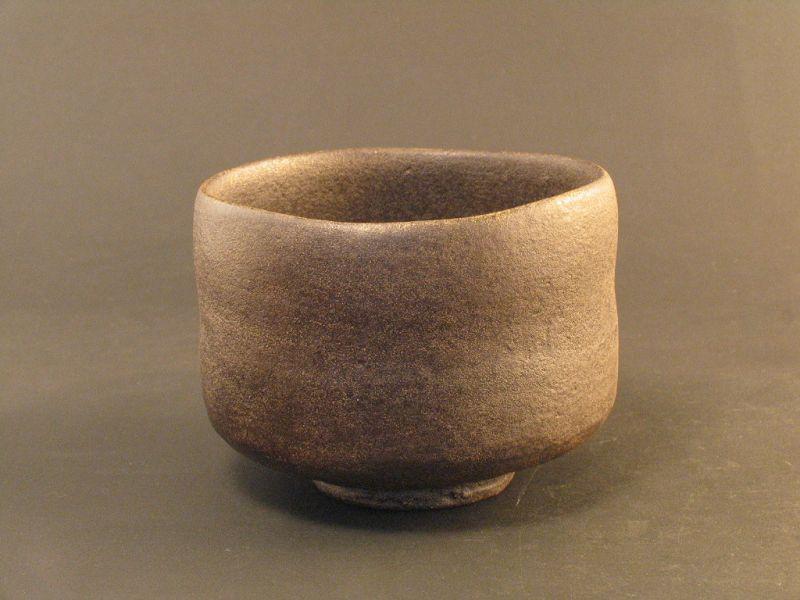 Black raku chawan created by Sadamitsu Sugimoto,the great master hand